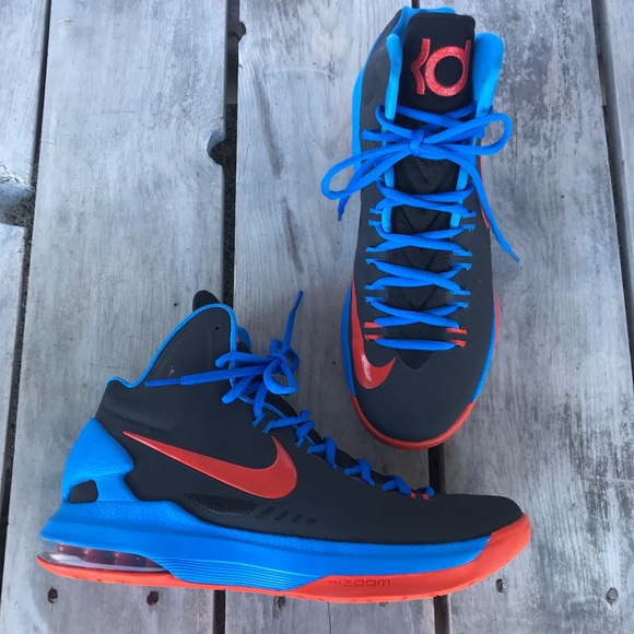 buy popular b1687 732de Nike KD 5 Thunder Away Blue Orange Size 9.5 Mens. M 5c3cf1249fe4862dd0f87b3a